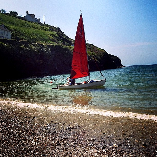 Boating in Port Gaverne, Cornwall